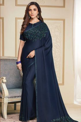 Navy Blue Color Soft Satin Designer Saree