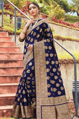 Navy Blue Cotton Handloom Weaving Saree