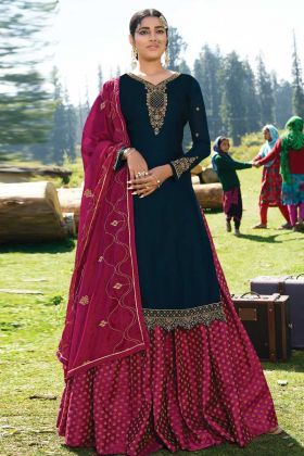 Navy Blue Fancy Designer Lehenga Suit In Satin Georgette Fabric