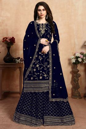 Navy Blue Georgette Salwar Suit In Embroidered Work
