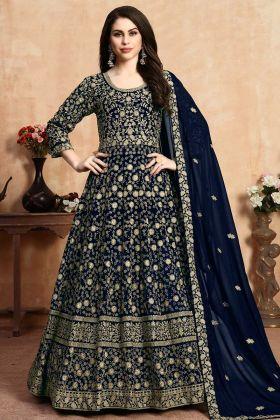 Navy Blue Georgette Wedding Anarkali Suit For Women