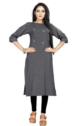 Navy Blue Rayon Hit And Fancy Kurti Buy Online