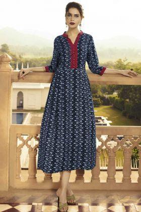 Navy Blue Rayon Printed Anarkali Style Kurti Design