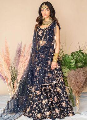 Navy Blue Thread Embroidery Lehenga Choli