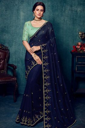 Navy Blue Vichitra Silk Wedding Saree Blouse Designs
