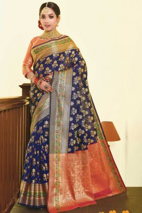 Navy Blue Color Art Silk Weaving Saree