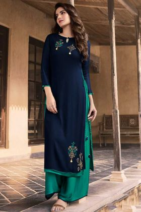 Navy Blue and Sea Green Georgette Wedding Palazzo Kurti Set With Stone Work