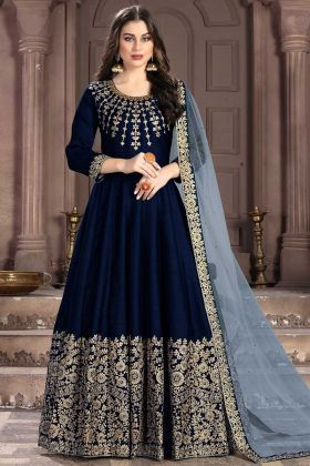 Navy Blue Art Silk Anarkali Suit In Embroidered Work