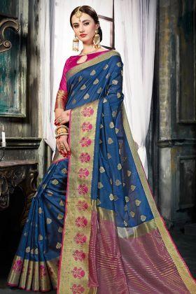 Navy Blue Art Silk Festive Saree