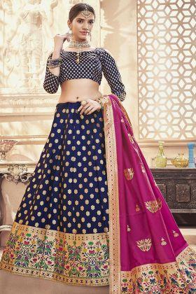 Navy Blue Banarasi Art Silk Designer Lehenga