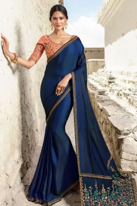 Navy Blue Barfi Silk Fancy Saree