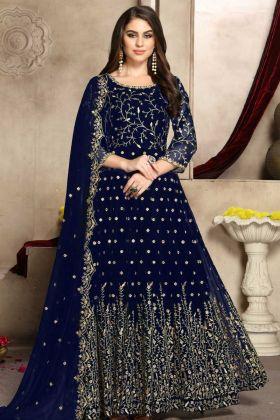Navy Blue Color Anarkali Salwar Kameez With Jari Embroidery Work
