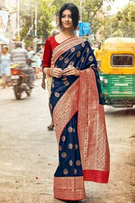 Navy Blue Color Art Silk Saree With Weaving Work