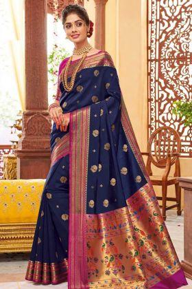 Navy Blue Color Banarasi Art Silk Traditional Saree