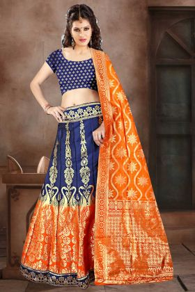 Navy Blue Color Banarasi Jacquard Silk A-Line Lehenga Choli