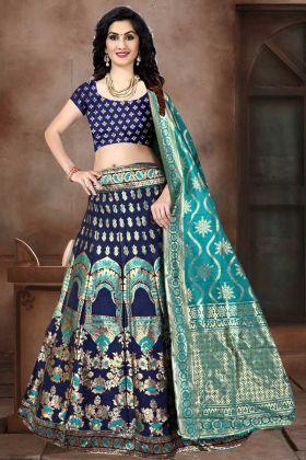 Navy Blue Color Banarasi Jacquard Silk Designer Lehenga Choli