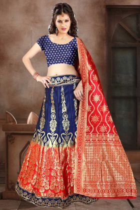 Navy Blue Color Banarasi Jacquard Silk Designer Lehenga Choli With Weaving Work