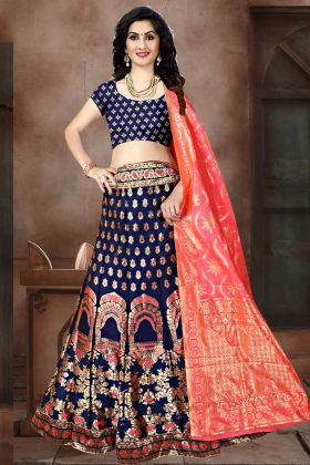 Navy Blue Color Banarasi Jacquard Silk Party Wear Lehenga Choli