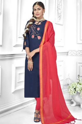 Navy Blue Color Cotton Slub Straight Salwar Suit With Thread Embroidery Work