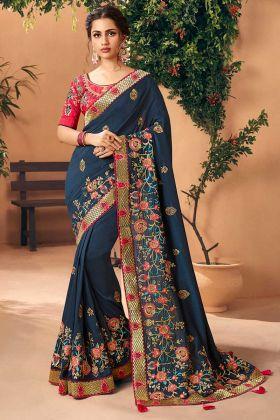 Navy Blue Color Embroidery Work Art Silk Wedding Saree