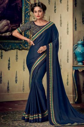 Navy Blue Color Fancy Fabric Festival Saree With Embroidery Work