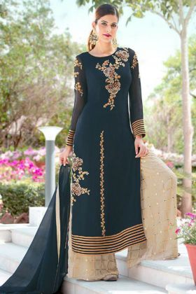 Navy Blue Color Faux Georgette Palazzo Salwar Suit