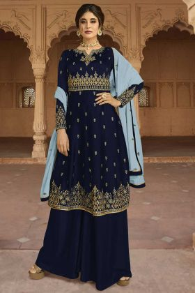 Navy Blue Color Georgette Satin Palazzo Suit With Zari Embroidery Work
