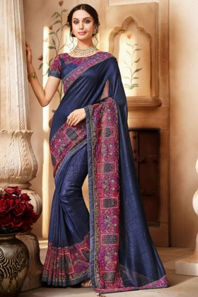 Navy Blue Color Handloom Silk Festival Saree With Embroidery Work