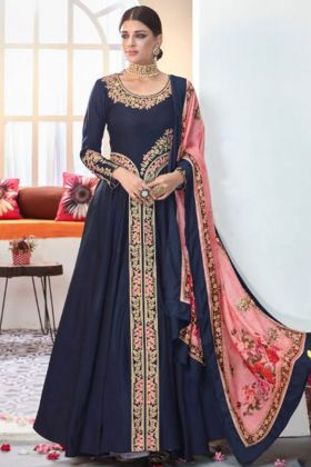 Navy Blue Color Heavy Satin Taffeta Anarkali Dress
