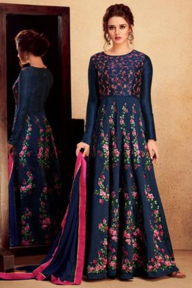 Navy Blue Color Heavy Silk Anarkali Salwar Suit With Embroidery Work