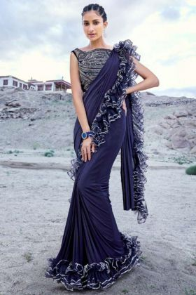Navy Blue Color Imported Fabric Ruffle Saree