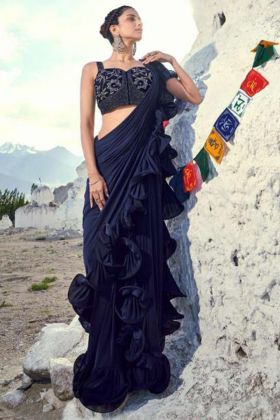 Navy Blue Color Imported Fabric Ruffle Saree With Embroidery Work