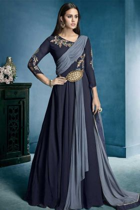 Navy Blue Color Lichi Georgette Gown Style Anarkali Salwar Suit With Heavy Embroidery Work