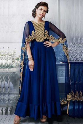 Navy Blue Color Nakakashi Georgette Anarkali Salwar Kameez