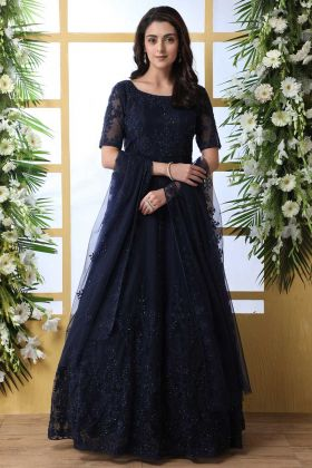 Navy Blue Color Net Anarkali Style Long Gown With Thread Embroidery Work
