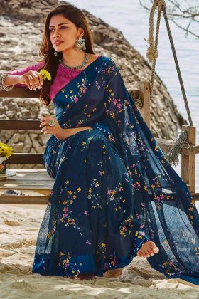 Navy Blue Color Printed Work Soft Linen Casual Saree