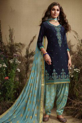 Navy Blue Color Punjabi Salwar Suit