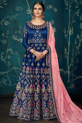 Navy Blue Color Pure Satin Silk Anarkali Dress With Stone Work