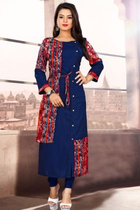 Navy Blue Color Readymade Kurti