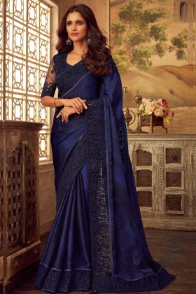 Navy Blue Color Sabya Silk Reception Saree With Embroidery Work