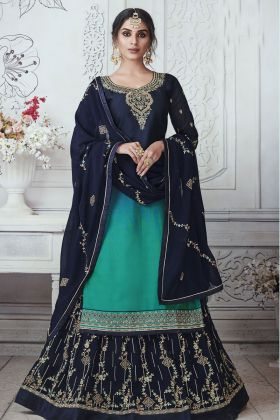 Navy Blue Color Satin Georgette Indo Western Suit