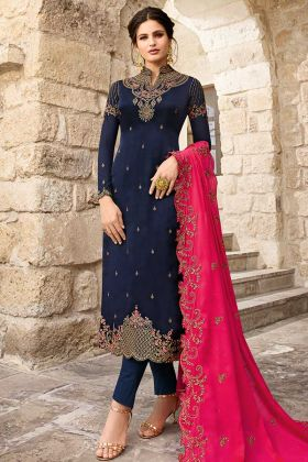 Navy Blue Color Satin Georgette Pant Style Salwar Suit With Embroidery Work