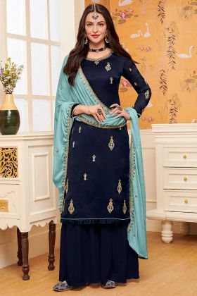 Navy Blue Color Satin Georgette Sharara Suit With Embroidery Work