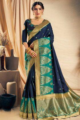 Navy Blue Color Satin Silk Festival Saree