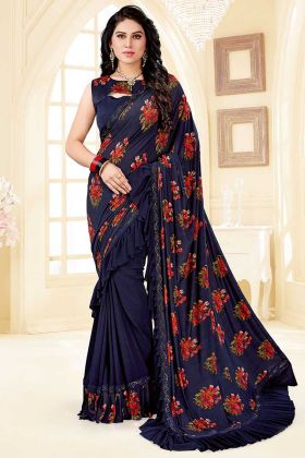 Navy Blue Color Soft Silk and Lycra Ruffle Saree With Thread Work