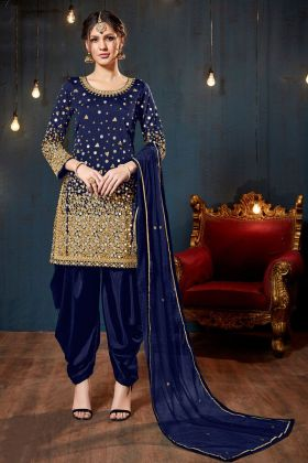 Navy Blue Color Tafeta Silk Patiala Salwar Suit