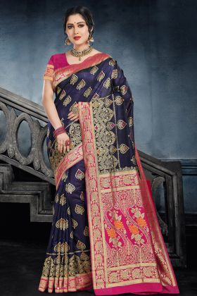 Navy Blue Color Traditional Silk Saree