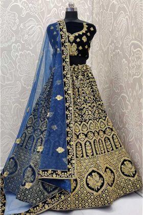 Navy Blue Color Velvet Wedding Bridal Lehenga Choli With Stone Work