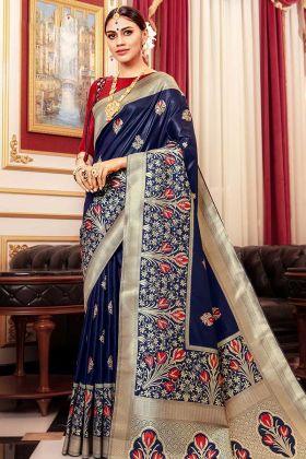 Navy Blue Color Weaving Art Silk Wedding Saree