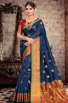 Navy Blue Cotton Silk Festive Saree